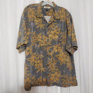 Tommy Bahama Silk Shirt Hawaiian Floral Palm Button Shirt Short Sleeve Large